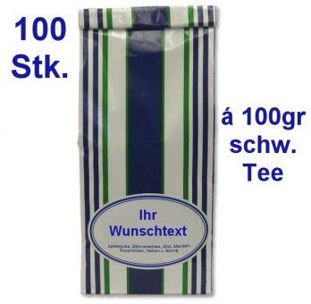 Geschenkaktion incl Ihrem Werbeaufdruck: 100 x 100gr schw. Tee