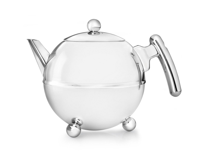 Teekanne Duet Bella Ronde silber,  Beschläge  Bredemeijer 1,2L.