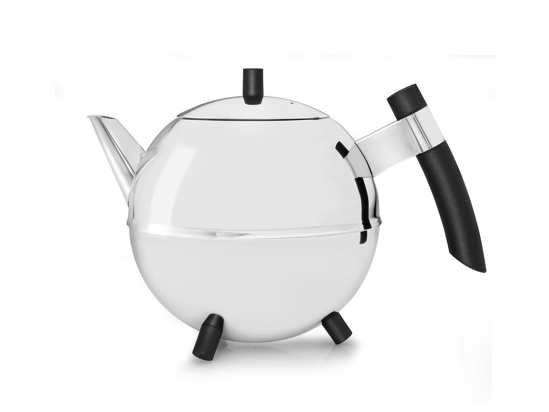 Teekanne Duet Meteor silber, schw. Beschläge  Bredemeijer 1,2L.