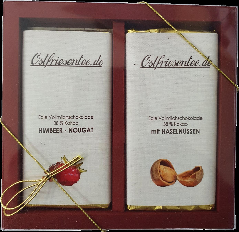 Geschenkset Schokolade - Himbeer & Haselnuss