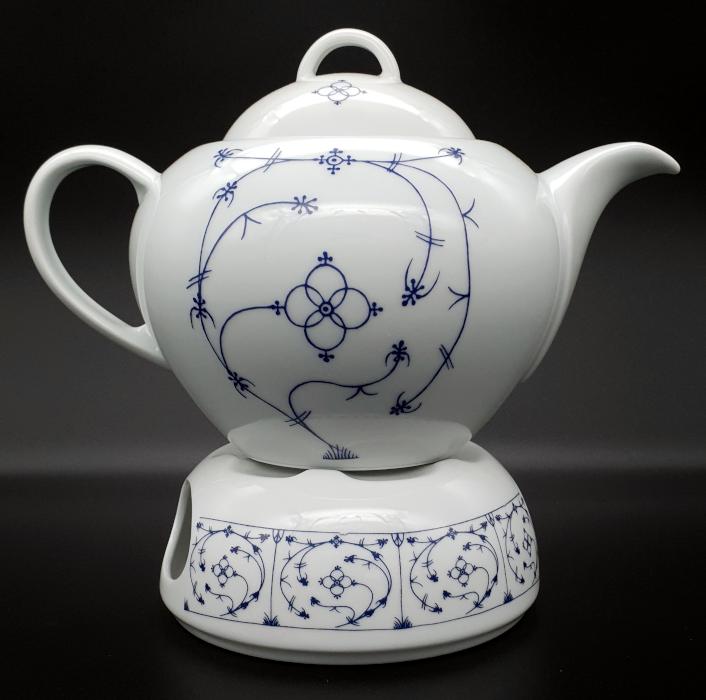 Teekanne Indisch Blau mit Stövchen