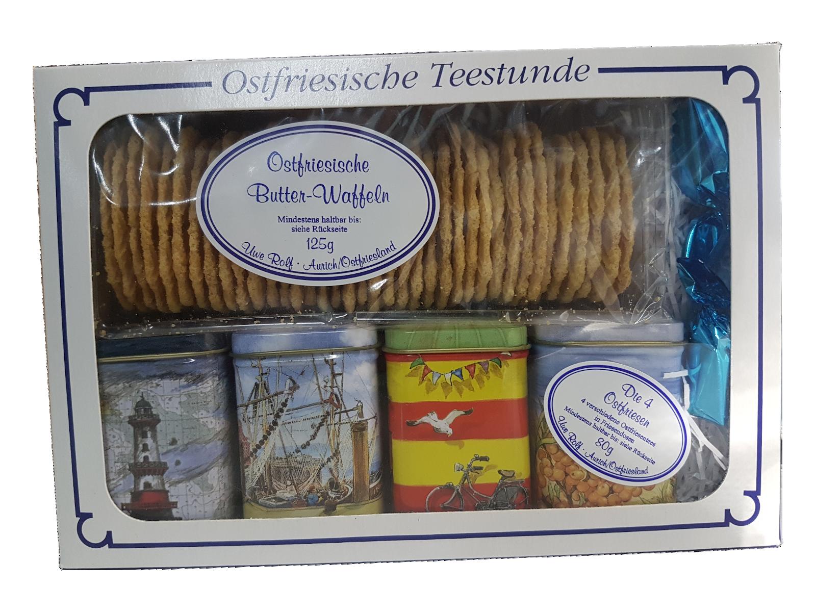 Geschenkset - Die 4 Ostfriesen in Dosen mit Butterwaffeln